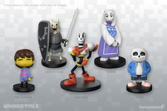 Five Little Buddies. Well,Toriel Little BuddyLesser Dog Little BuddyThe Human Little BuddyPapyrus Action FigureSans Inaction FigureThese injection-molded plastic UNDERTALE figurines were modeled by Gijs van Kooten. They range from 2.5 to 3.6 inches tall.Final product may differ from this 3D render.