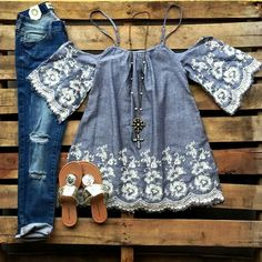 Denim outfit  Southern fried chicks