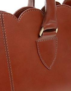 Image 4 ofASOS Leather Scallop Edge Shopper