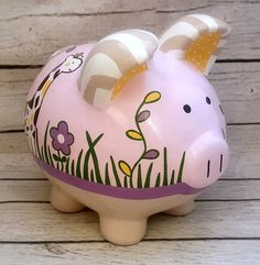 Your place to buy and sell all things handmade Personalized Piggy Bank, Personalized Gifts, Piggy Banks, Ideas Para Fiestas, Baby Coming, Crafts For Girls, Paint Pens, Custom Items, Babys
