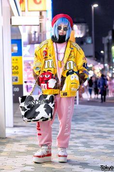 tokyo-fashion:  Shoshipoyo on the street in Harajuku wearing a matching Versace & FUBU top and pants from Freak City with a Dog Harajuku bomber jacket a Moschino cow print bag and Nike platform sneakers (from Dog Harajuku). Full Look  yooooo insp
