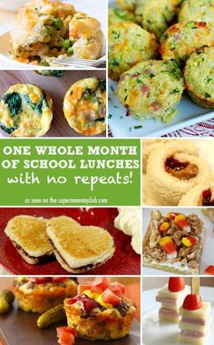 One whole months of school lunch ideas - with no repeats! Easy, semi-healthy, wide variety for kids.