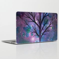 Tree in a fairy-like blue lilac sparkle spring night laptop skin, $30