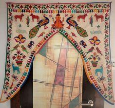 VINTAGE DOOR VALANCES INDIAN TORAN WALL HANGING HAND EMBROIDERED HOME DECOR #Handmade