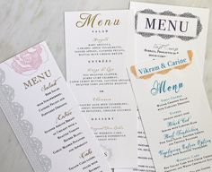 Vintage Modern Wedding Menu Cards - Purchase to Start the Ordering Process. $100.00, via Etsy.