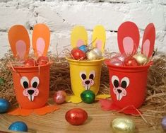 Kids Crafts, Cup Crafts, Crafts For Seniors, Bunny Crafts, Easter Crafts, Diy And Crafts, Easter Table Decorations, Creative Workshop, Easter Activities