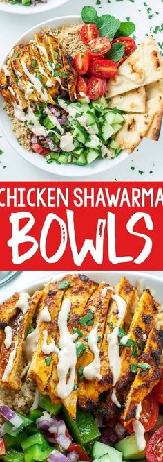 We're loving this recipe for healthy Chicken Shawarma Quinoa Bowls with a super easy hack for creating make-ahead lunches for work or school. The flavors are out of this world!! #healthy #shawarma #chicken #quinoa #chickenshawarma #glutenfree #mealprep #makeahead #lunch #dinner #lunchbox Shawarma Chicken, Quinoa Bowl, Make Ahead Lunches, Healthy Chicken Recipes, Healthy Meals, Healthy Food, Healthy Fruits, Vegan Dinners, Glutenfree