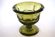 Vintage Fostoria Argus green glass footed bowl. Part of the Henry Ford Museum collection. The HFM mark is stamped on the side of this piece. This is a very heavy / sturdy bowl that's in mint condition