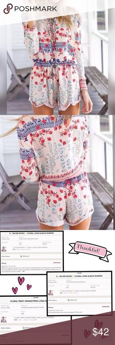 "5⭐️RATED FLORAL LONG OR 3/4 SLEEVE ROMPER We reached the maximum likes(600) on this romper and needed to create a new listing. Rated 5⭐Floral print, drawstring waist, lace up front neck, 3/4 sleeve or long, your choice😊87% cotton, 13% acetate. Small; (XS/S) Bust: 32.5-35.5"", Waist: 26-28"", Hips: 33-36"". 33"" length. Medium; (S-M) Bust: 35-5-37.5"", Waist 28-30"", Hips 36-38"". Large (M-L) Bust: 37.5-40"", Waist: 30-31"", Hips: 38-40"". XL ; (Large-XLarge) Bust: 40-42"", Waist: 31-33"", Hips: 40-42""…"