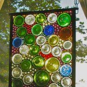 Used Wine Bottles in Stained Glass. I love the colors!