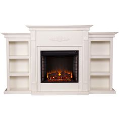 Upton Home Dublin Ivory Electric Fireplace ($544) ❤ liked on Polyvore featuring home, home decor, fireplace accessories and ivory electric fireplace