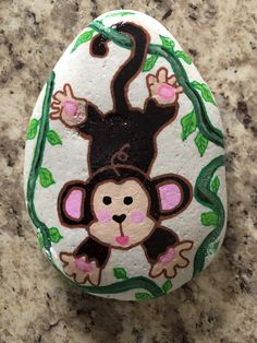 Monkey painted rocks