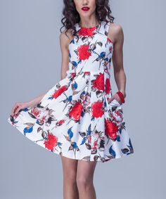 Another great find on #zulily! White Floral Sleeveless Fit & Flare Dress #zulilyfinds
