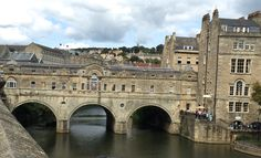 Pulteney Bridge at Bath on the River Avon. Like the Ponte Vechio, there are shops built right on the bridge.