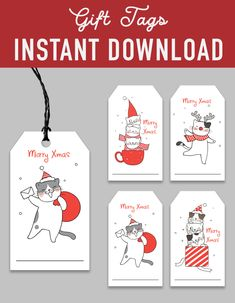 SALE Printable Christmas Gift Tags - cat kitten kitty santa white simple - Printable DIY Christmas Tags - christmas decoration - christmas printables - instant download - favor labels wrapper - gift tags label - favor tags printable - Christmas DIY kit - DIY christmas - christmas print - xmas printable - christmas party - digital download - digital printable  -  gifts tags  - holiday printable - holiday DIY decoration -  holiday labels - printable christmas - party printable - christmas… Diy Christmas Tags, Christmas Gift Tags Printable, Christmas Printables, Printable Labels, Party Printables, Diy Decoration, Merry Xmas, Favor Tags, Kitten