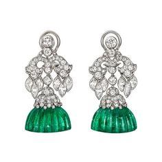 Van Cleef  Arpels Art Deco Carved Emerald  Diamond Earrings