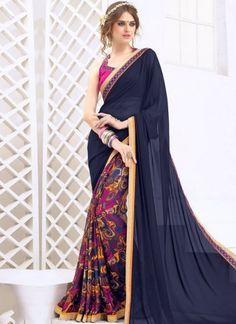 Navy Blue Border Lace Work Weightless Half N Half  Printed Designer Casual Saree http://www.angelnx.com/Sarees