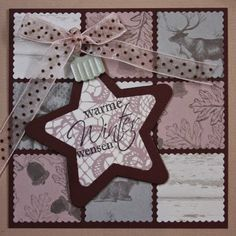 Marjoleine's blog: Kerstkaart met 9 vakjes en een kerst-ster-bal Christmas Cards To Make, Xmas Cards, Christmas And New Year, Christmas Holidays, 3d Cards, Cool Cards, Marianne Design, Winter Cards, Stamping Up