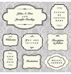 stock vector : Set of vector ornate frames with sample text. Perfect as invitation or announcement. Background pattern is included as seamless swatch. All pieces are separate. Easy to change colors and edit. Free Vector Images, Vector Free, Diy Gift Box, Borders And Frames, Web Design Trends, Perfect Image, Vintage Frames, Background Patterns, Textured Background