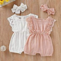 and baby fashion Baby Girls Lace Ruffle-sleeve Ramie Cotton Romper Headband Set Baby Outfits Newborn, Baby Boy Outfits, Kids Outfits, Newborn Girls, Baby Girl Newborn, Baby Girl Fashion, Fashion Kids, Babies Fashion, Fashion Clothes