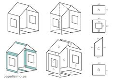 Como hacer casa de cartón con medidas Cardboard house