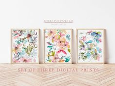 Watercolor Floral print set, Art prints, Set of three, Watercolor wall art, Printable watercolor, Flower painting, Flower wall decor Rose Wall Art, Art Print Set, Pink Wall Art, Floral Prints, Flower Wall Decor, Watercolor Walls, Prints, Floral Wall Art
