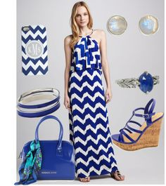 """Blue Chevron"" by anesbitt09 ❤ liked on Polyvore"