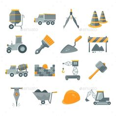 Construction Icons Set by macrovector Construction and building equipment icons set isolated vector illustration. Editable EPS and Render in JPG format