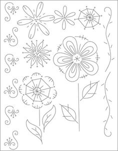 pretty flowers and flourishes to embroidery