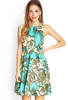 Abstract Rose Skater Dress | FOREVER 21 - 2000066981