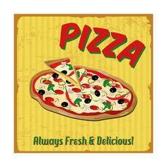 size: Art Print: Pizza Vintage Poster by radubalint : Entertainment Vintage Wall Art, Vintage Home Decor, Vintage Walls, Vintage Posters, Framed Artwork, Wall Art Prints, Strange Adventure, Vintage Home Accessories, Beautiful Soup