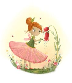 At the bottom of the garden. Fairy Illustration by Lucy Fleming Illustration Artists, Cute Illustration, Night Garden, Garden Gate, Painting For Kids, Picture Design, Rock Art, Art World, Cute Cartoon