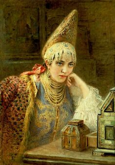 "The Young Bride, Konstantin Egorovich Makovsky.  Konstantin Yegorovich Makovsky was an influential Russian painter, affiliated with the ""Peredvizhniki"". Many of his paintings, such as The Russian Bride's Attire, showed an idealized view of Russian life of prior centuries."