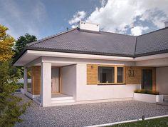 Casa in forma de T, fara etaj, cu 4 dormitoare si garaj - proiect si imagini Modern Family House, Facade House, Design Case, House Front, Future House, House Plans, House Design, Outdoor Structures, Architecture