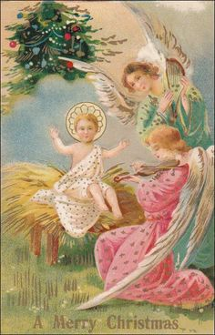 """Christmas Tree, Angels Singing To Baby Jesus, Angels Playing The Harp & Violin, """"A Merry Christmas"""", PU-1911 Item# SCVIEW433115 (260091203)"""