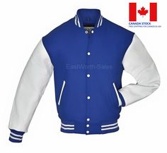 Blue Wool Varsity Letterman Bomber Jacket With White Pure Leather Sleeves Dark Navy Blue, Blue And White, Ivy Style, Leather Sleeves, Blue Bodies, Slim Fit Trousers, Blue Wool, Wool Cardigan, Varsity Jackets