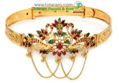 Buy 22K Gold Arm Patti (armlet) with Ruby - ARMV189 with a list price of $1,737.99 - 22K Indian Gold Jewelry from Totaram Jewelers