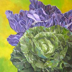 Green And Purple Cabbage Canvas Print / Canvas Art by Alfred Ng