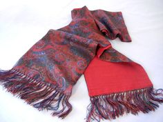 Red Fringed Paisley Scarf, Royal Silk Warm Winter Wool Silk Double Sided Menswear, 80s
