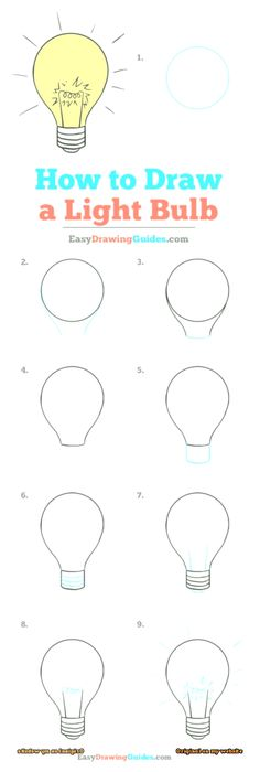 How to Draw a Light Bulb – Really Easy Drawing Tutorial Learn How to Draw a Light Bulb: Easy Step-by-Step Drawing Tutorial for Kids and Beginners. Bulb See the full tutorial at easydrawingguides…. Easy Drawing Tutorial, Step By Step Painting, Step By Step Drawing, Painting For Kids, Drawing For Kids, Drawing Ideas, Drawing Art, Drawing Poses, Light Bulb Drawing