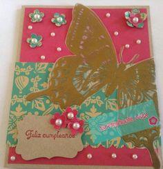 Tarjeta de cumpleaños, birthday card  Scrapbookmex stampin up Swallowtail stamp