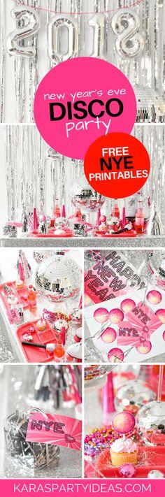 New Years Even Disco Party plus Free NYE Printables via Kara's Party Ideas - KarasPartyIdeas.com