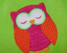 Owl Applique Machine Embroidery Design No. 016