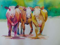 Watercolor Animals, Watercolor Art, Hereford Cows, Farm Paintings, Cow Decor, Ranch Decor, Cow Painting, Western Decor, Watercolor Background