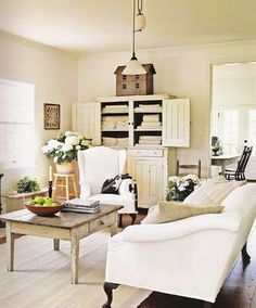 Love the cabinet with the linens.