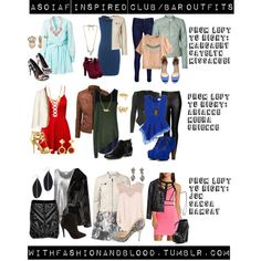 """""""Asoiaf inspired outfits for going out to a bar or club"""" by withfashionandblood on Polyvore"""