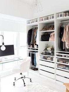 Explore the best of luxury closet design in a selection curated by Boca do Lobo to inspire interior designers looking to finish their projects. Discover unique walk-in closet setups by the best furniture makers out there Closet Office, Wardrobe Closet, Master Closet, Closet Bedroom, Walk In Closet, Bedroom Decor, Ikea Closet, Wall Decor, Closet Space