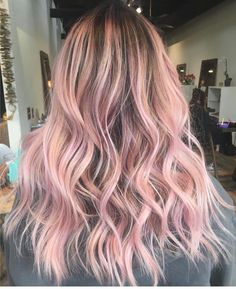 Evergreen Salon and Spa Pink color pastel hair medium long length wavy curls Pink And Black Hair, Light Pink Hair, Pastel Pink Hair, Hair Color Pink, Cool Hair Color, Long Pink Hair, Dyed Hair Pink, Pink Blonde Hair, Blonde Curls