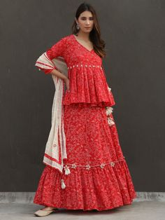 Red Floral Printed Cotton Angrakha Top with Flared Skirt and Off White Checkered Mulmul Dupatta - Set of 3 Bandhani Dress, Lehnga Dress, Designer Party Wear Dresses, Indian Designer Outfits, Kurta Designs Women, Blouse Designs, Stylish Dresses, Fashion Dresses, Women's Dresses