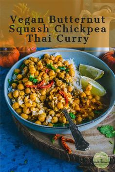 A lip-smacking Instant pot Butternut Squash Chickpea vegan or vegetarian Thai curry that's a perfect one-pot recipe for busy weeknights. Plus, it can be made within 45 minutes using basic pantry staples. #butternutsquash #chickpeas #Thaicurry #veganThai #InstantPot #pressurecooker #vegancurry #vegetablecurry #coconutmilkrecipes #chickpeacurry #squashrecipes #fallrecipes #Thanksgivingrecipes #winterrecipes #christmasrecipes